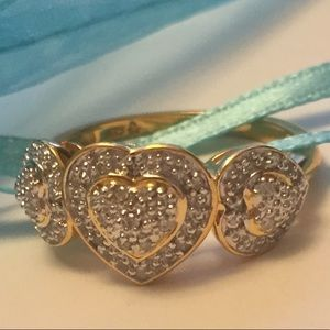 Jewelry - Diamond Hearts Trio Ring 25 Genuine Diamonds